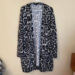 Gray and black leopard cardigan, size large.